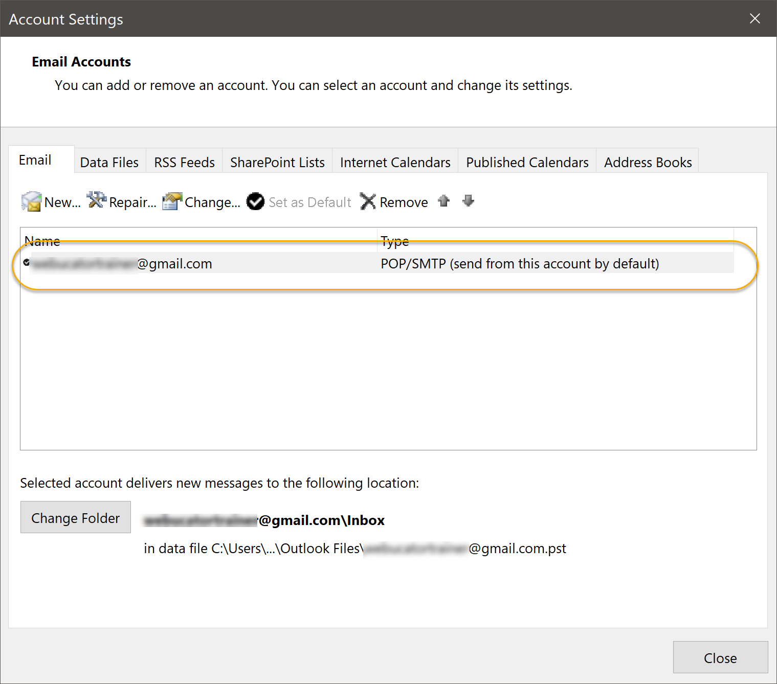 Account Settings Dialog Box
