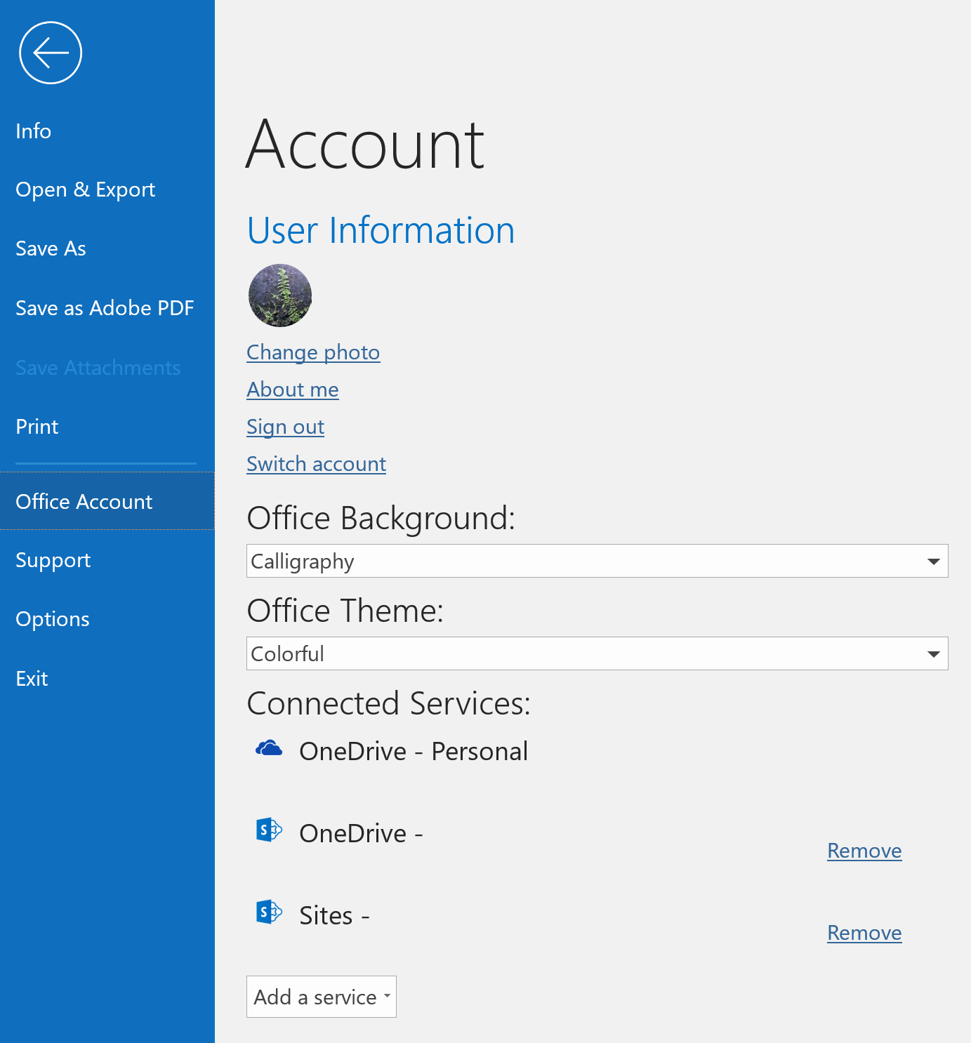Office Account Tab