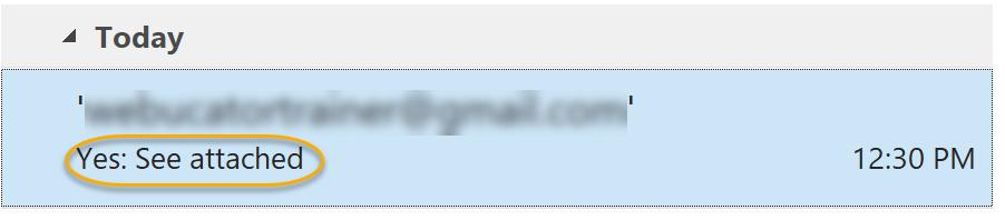 Response in Inbox