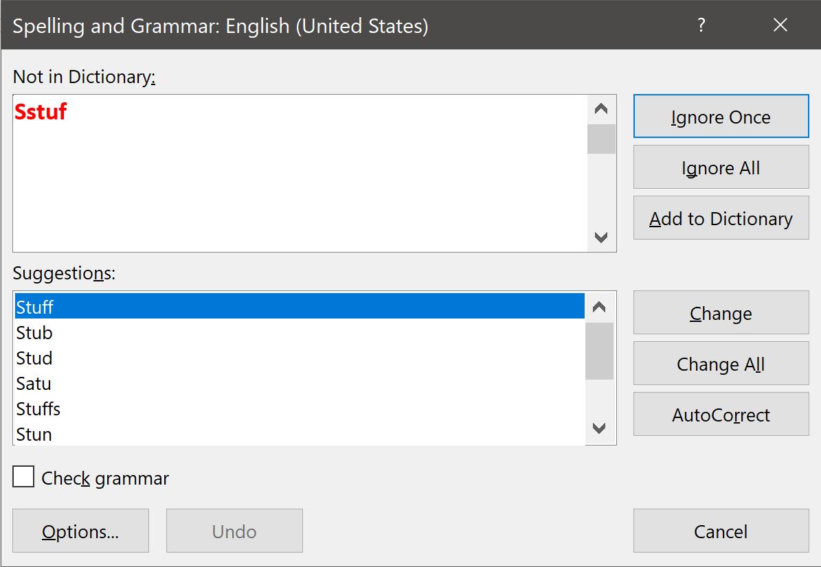 Spelling and Grammar Dialog Box