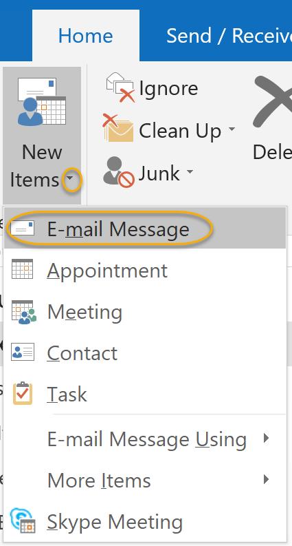 E-mail Message Option