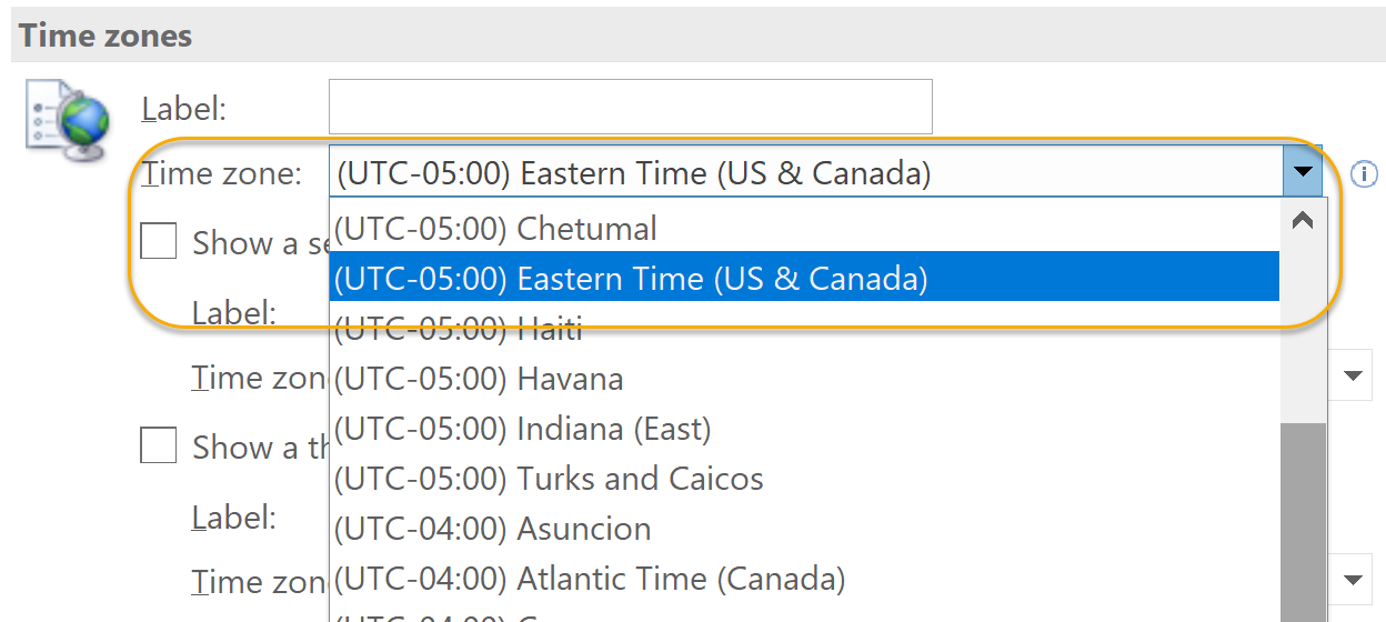 Select Time Zone