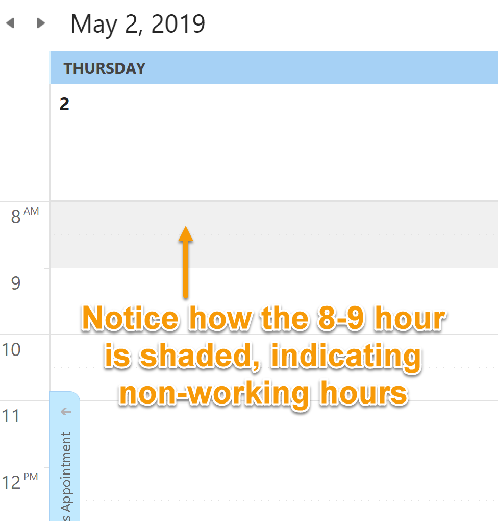 Calendar Displays Working Time