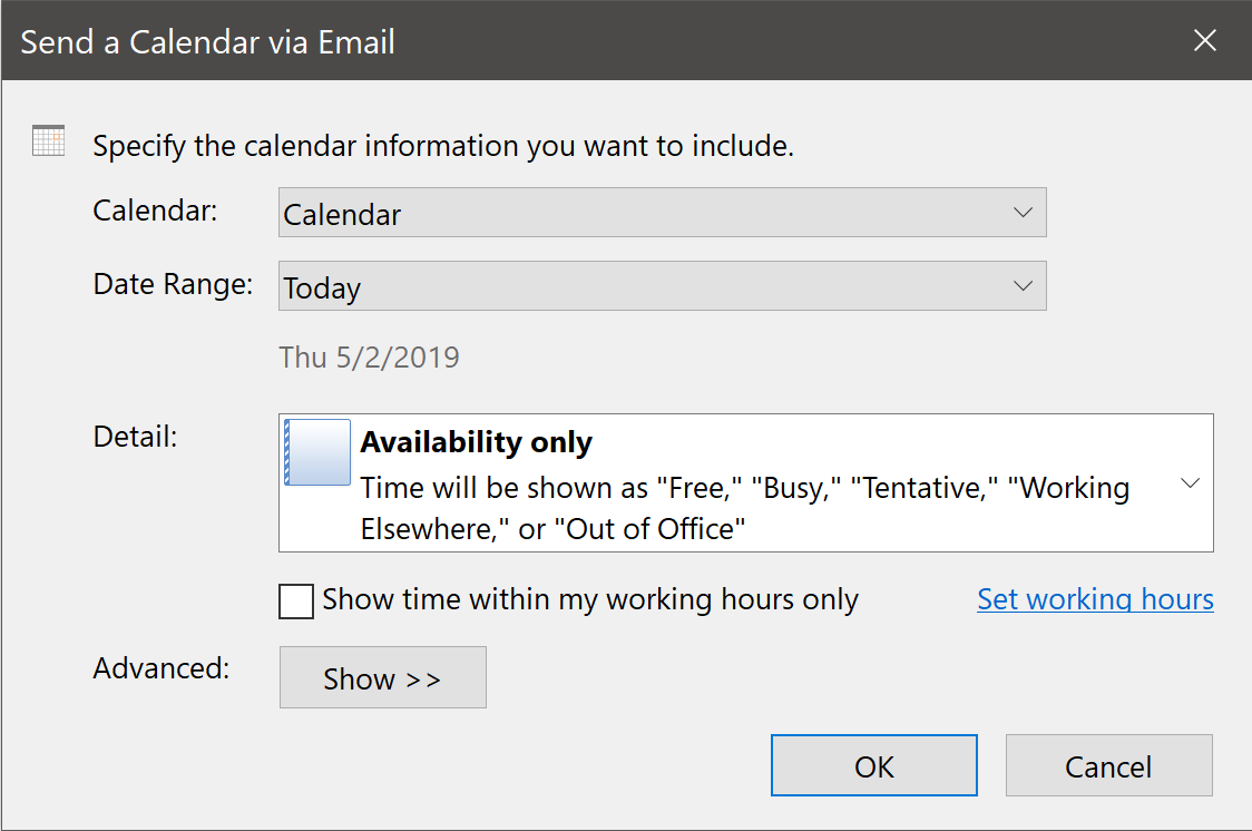Send a Calendar Via E-mail Dialog Box