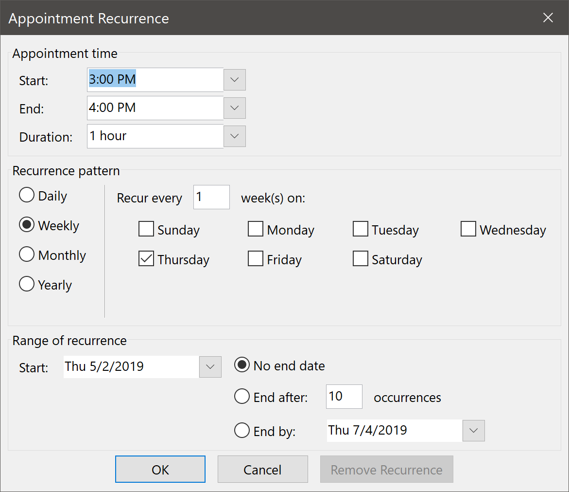 Appointment Recurrence Dialog Box