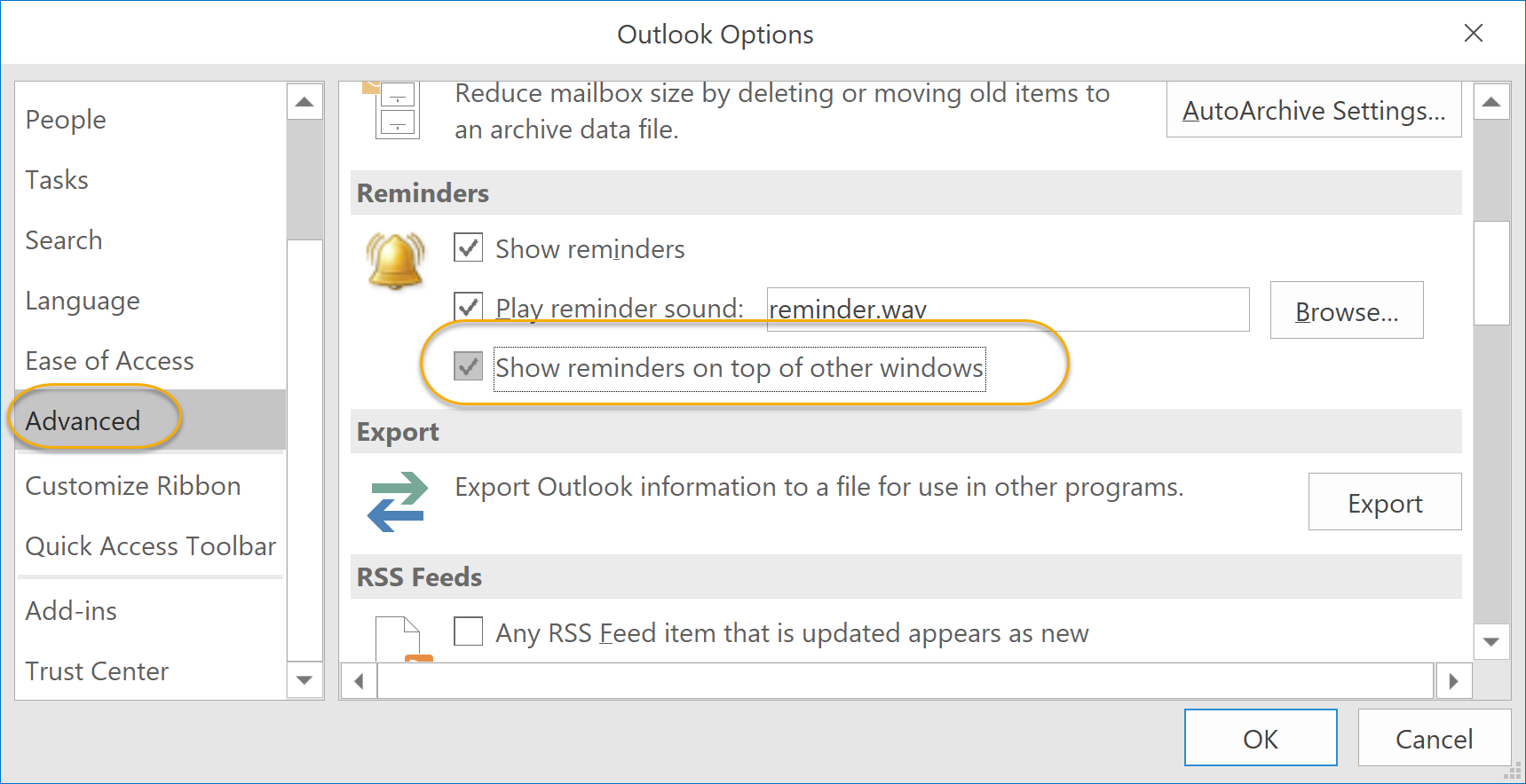 Show reminders on top of other windows Check Box