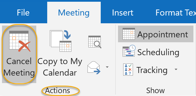 Cancel Meeting Option
