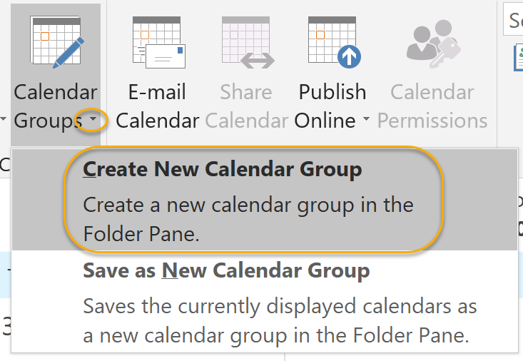 Create New Calendar Group Command