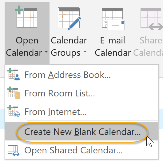 New Blank Calendar Option