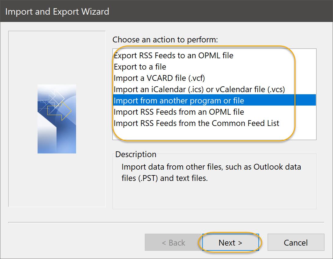 Import a VCARD Option