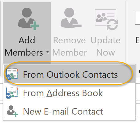 Add From Outlook Contacts