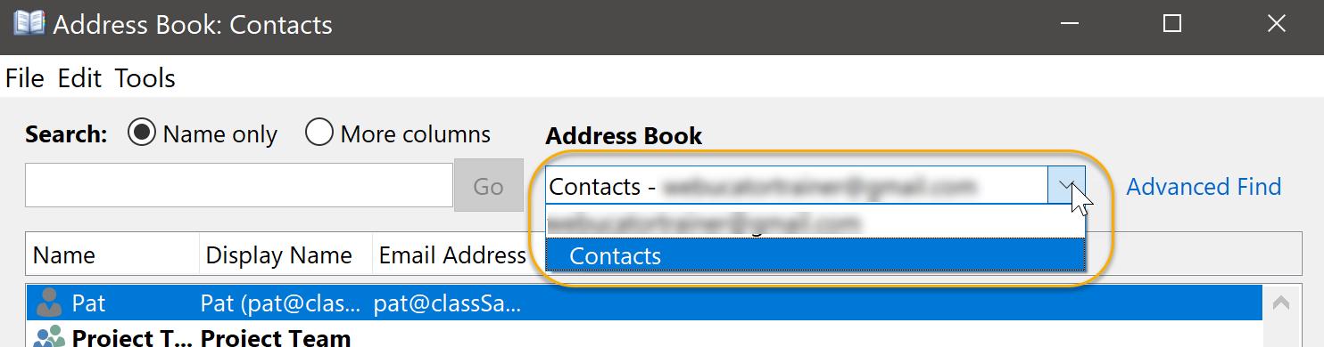 Address Book Drop-Down List