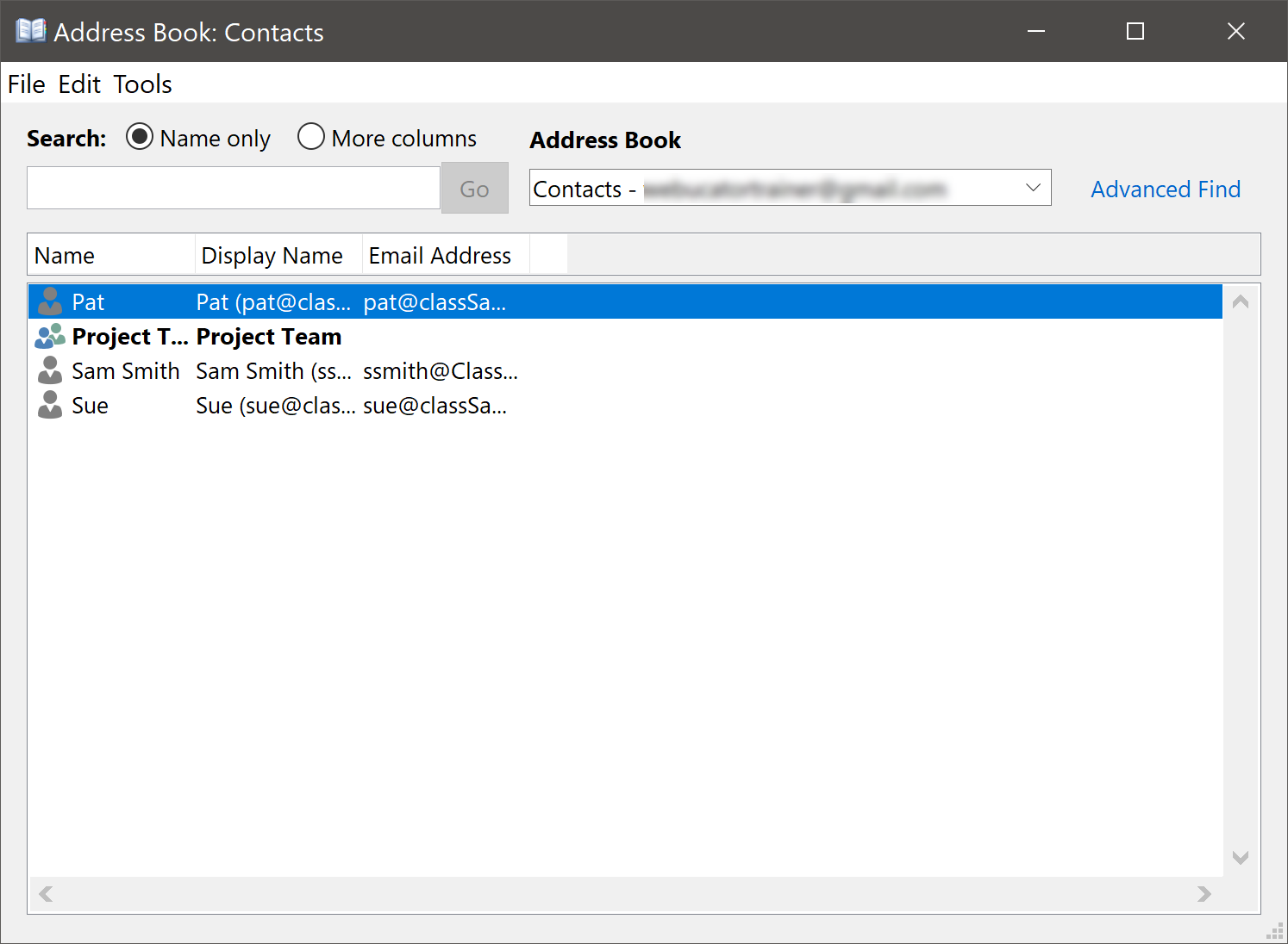 Address Book: Contacts Dialog Box