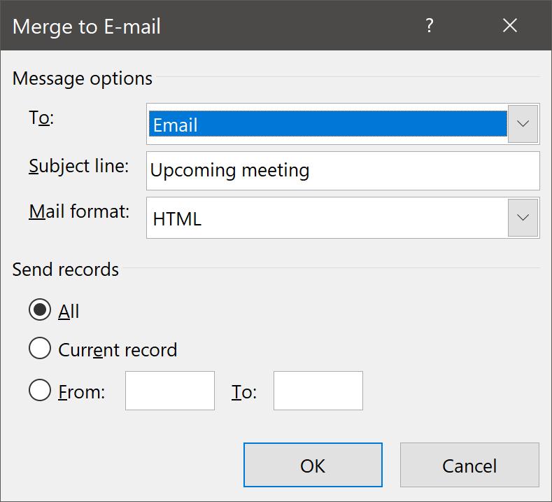 Merge to E-mail Command