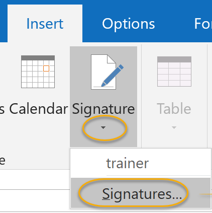 Signatures Drop-Down List