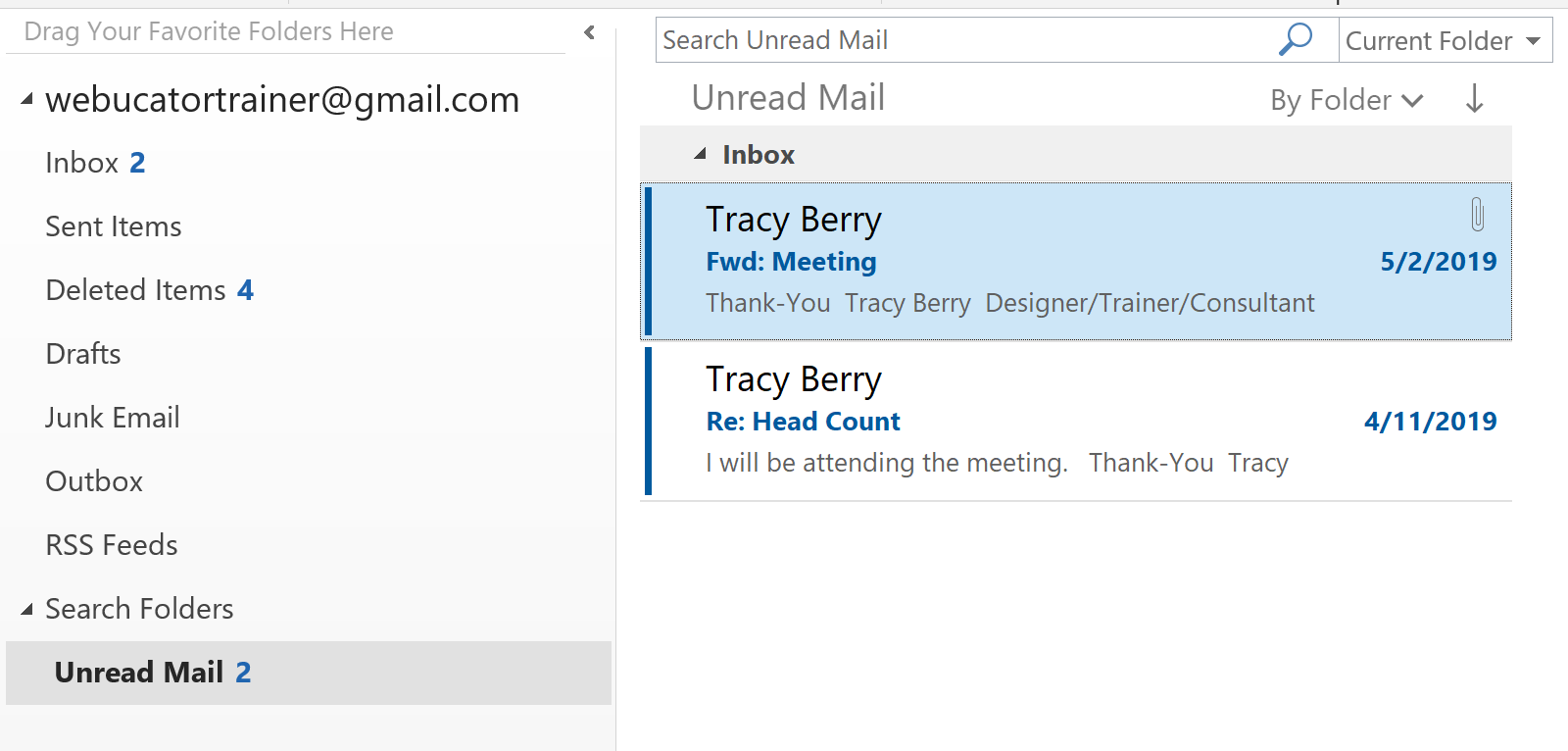 Inbox Displays Contents