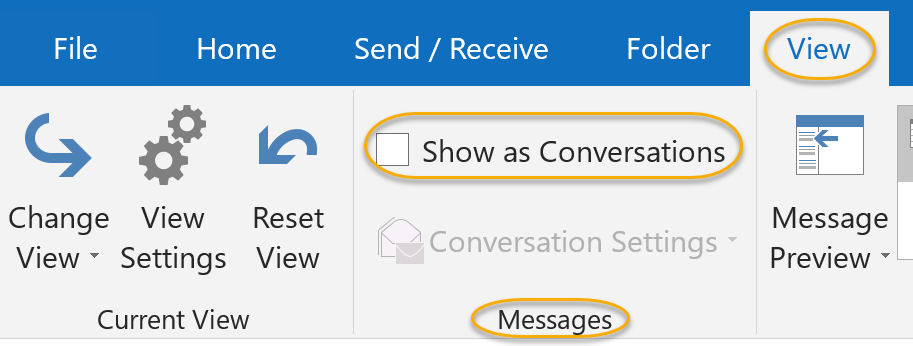 Show as Conversations Check Box