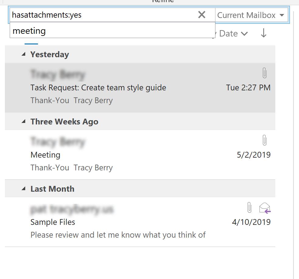 Inbox Displays Results