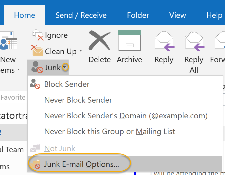 Junk E-mail Options