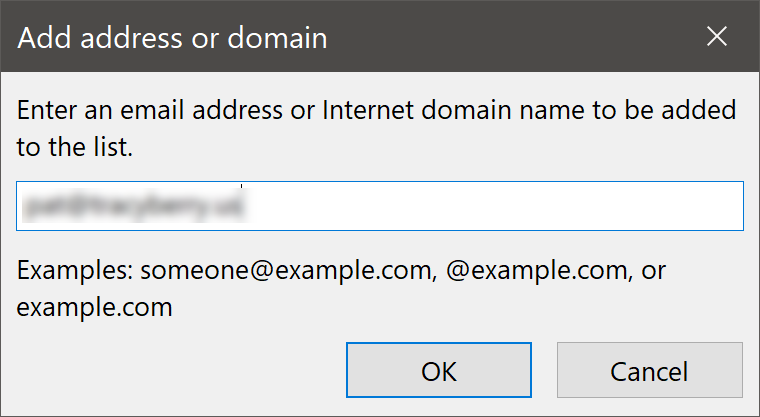 Add address or domain Dialog Box