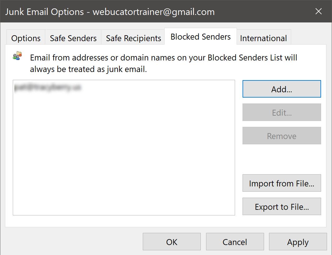 Blocked Senders List