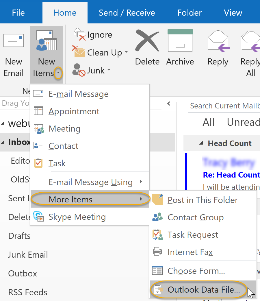 Outlook Data File Command