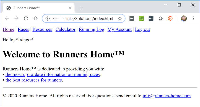 Welcome to Runners Home page