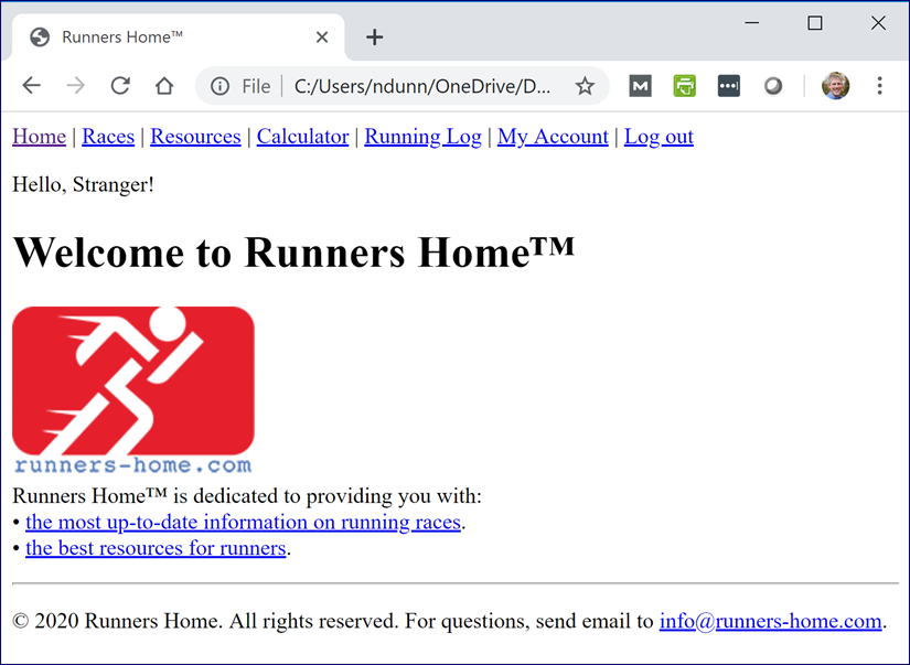 Welcome to Runners Home Page with Image