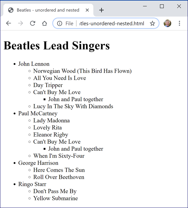 Unordered Nested Lists Beatles Songs by Singer