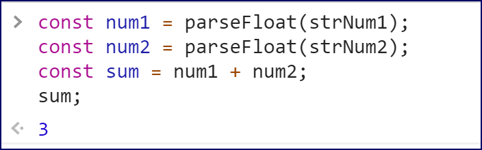 Converting strings to numbers with parseFloat.