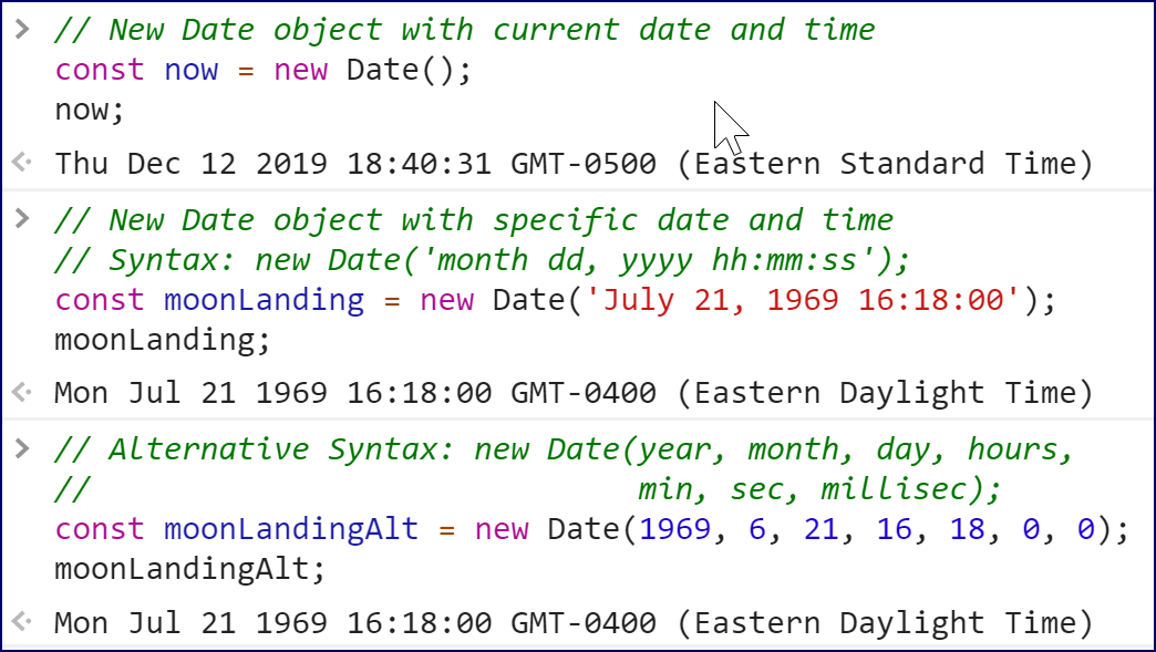 Creating New Date Objects